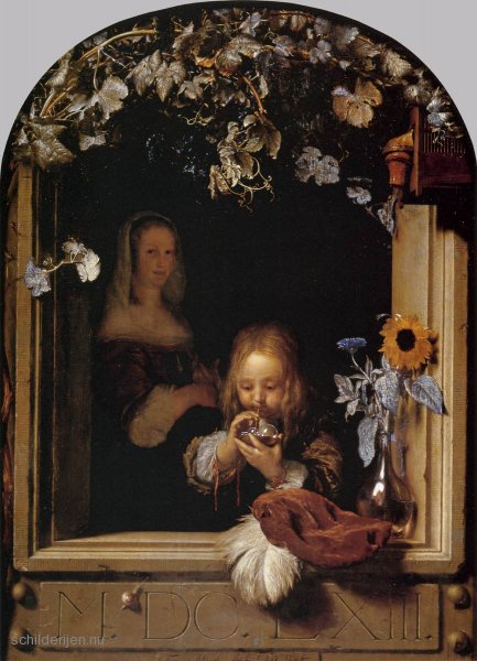 Frans-van-Mieris-de-Oude--Boy-Blowing-Bubbles-i16080